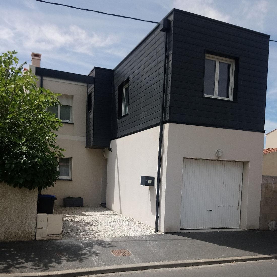 Surélévation maison au dessus d'un garage à la rochelle